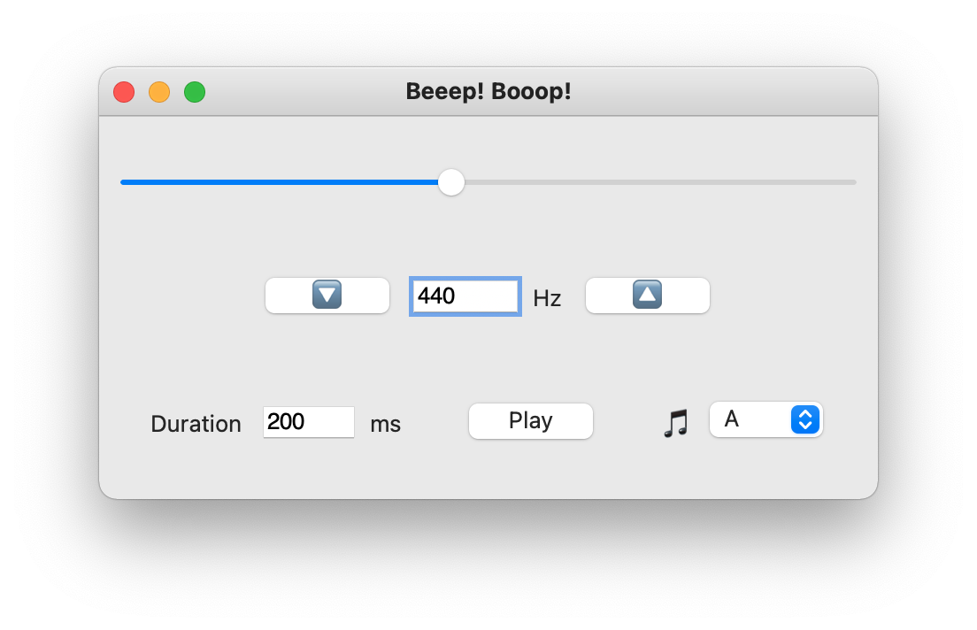 Screenshot of a small program, filled with sliders and emoji that bleep and bloop!