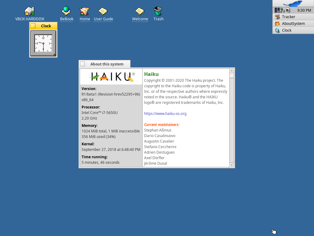 A screenshot of Haiku running in a VM