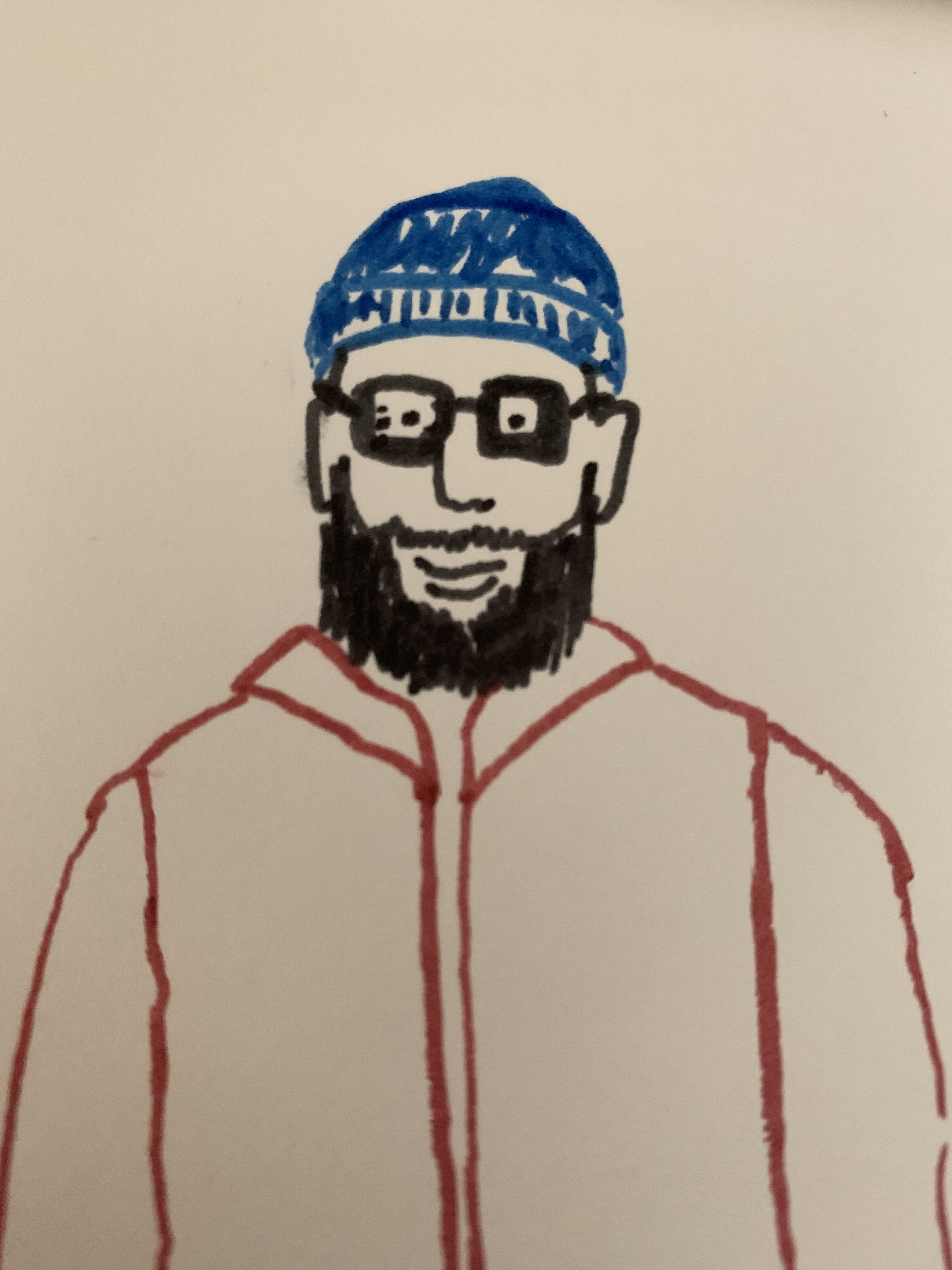 A drawing of a bearded person wearing a blue beanie.