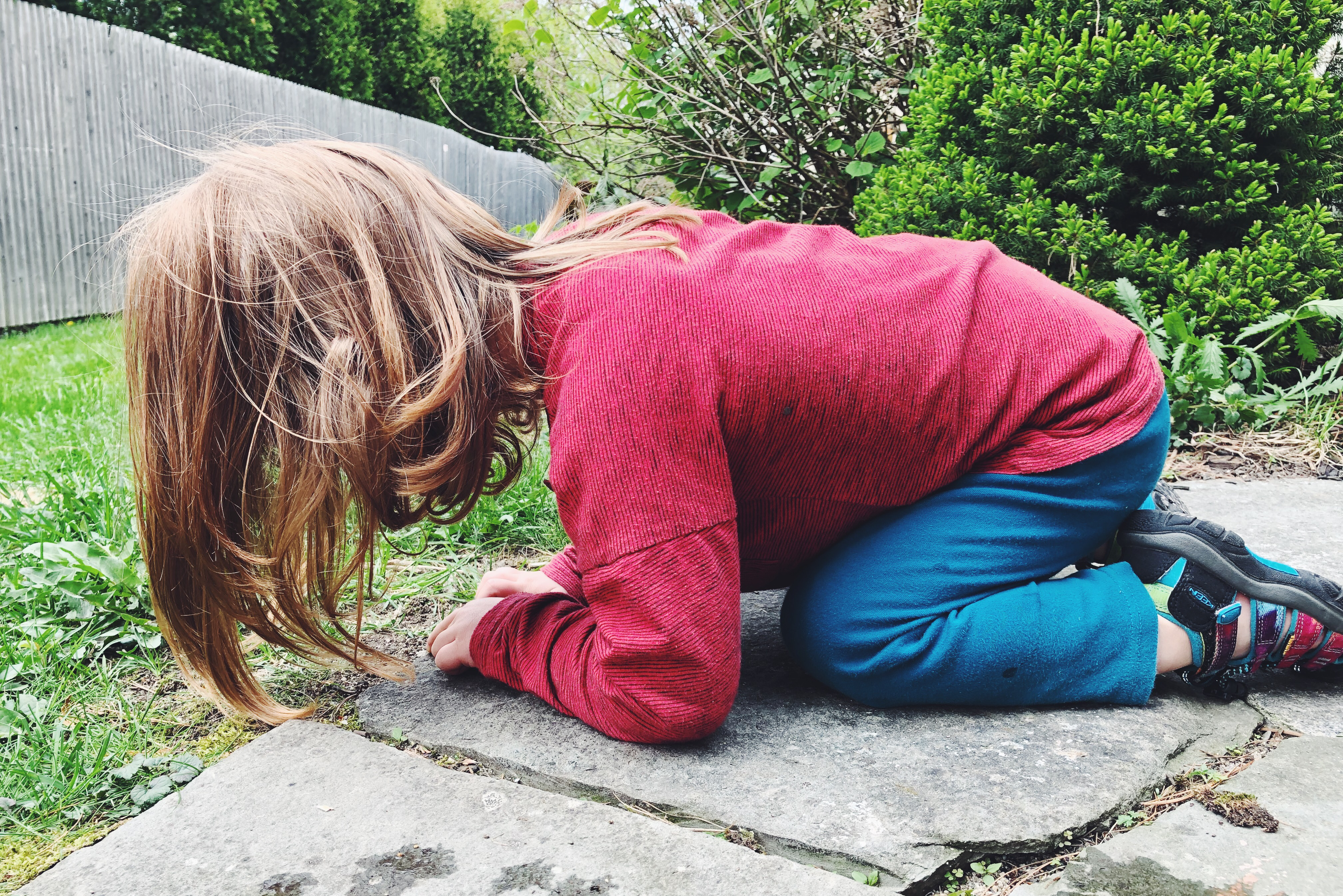 Young child in a red shirt watching ants, while their long hair touches the ground.