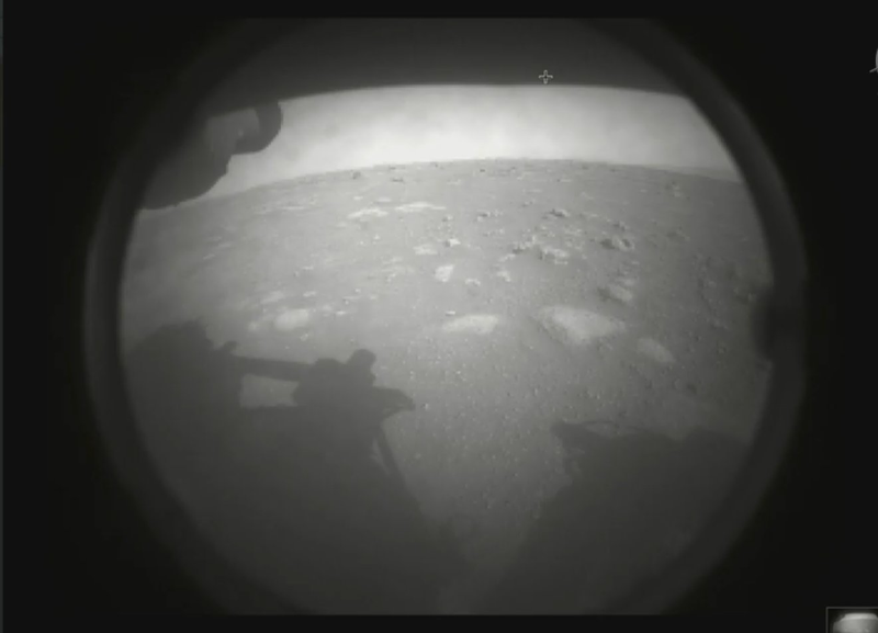 A photo from the recently arrived Mars rover!