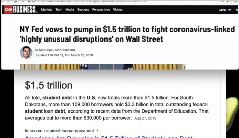 "Screenshot showing an article with the headline ""NY Fed vows to pump in $1.5 trillion to fight coronavirus-linked 'highly unusual disruptions' on Wall Street"" juxtaposed to a screenshot of the total amount of US Student debt equaling $1.5 trillion"