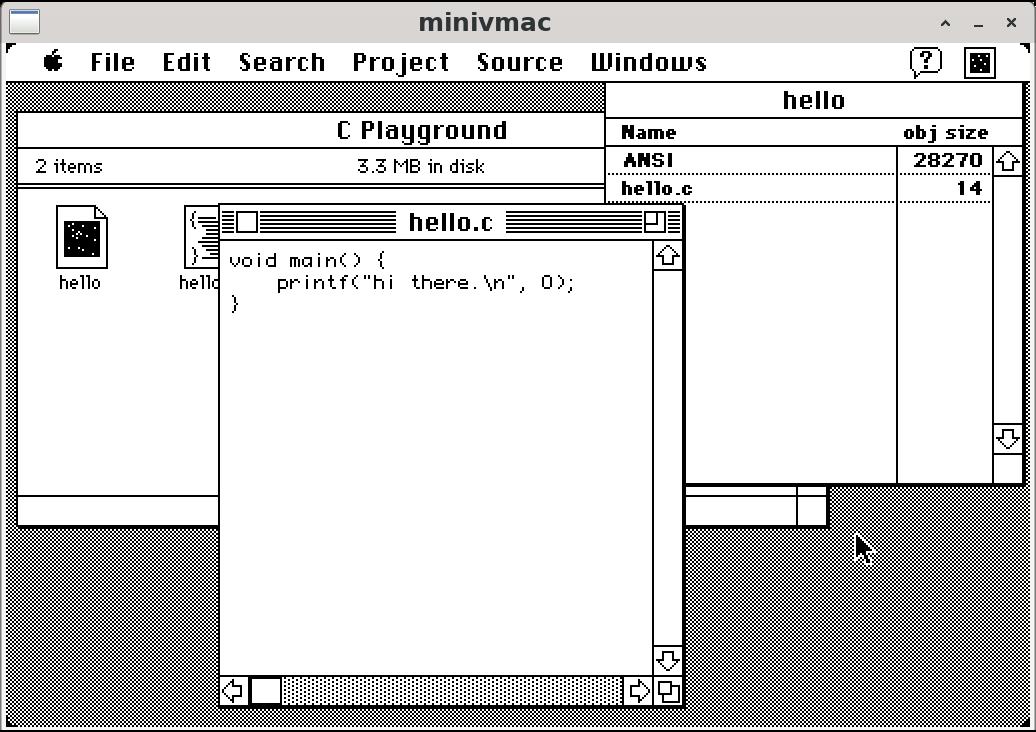 A screenshot of a very tiny c program written on System7