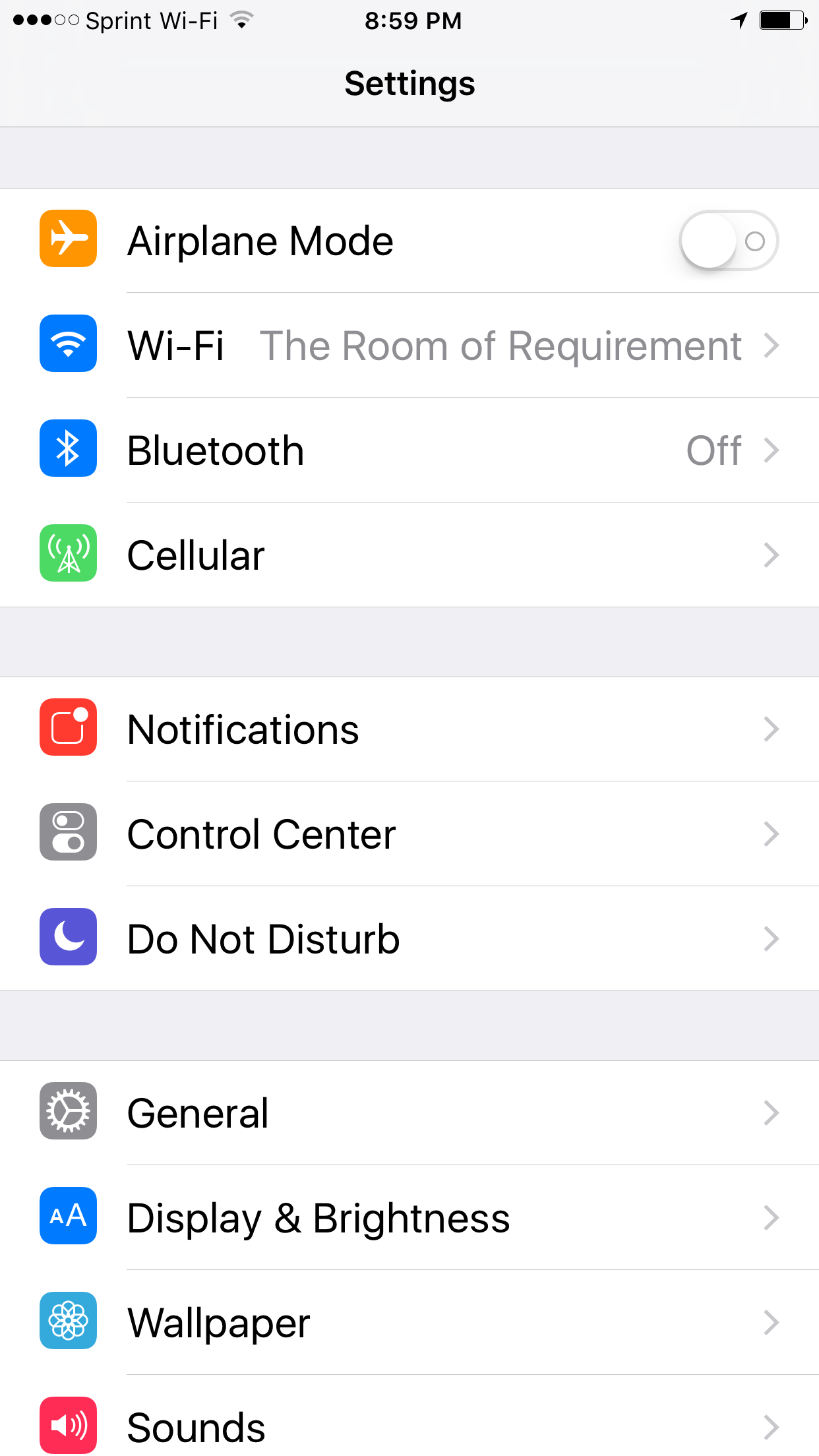 iOS settings screen
