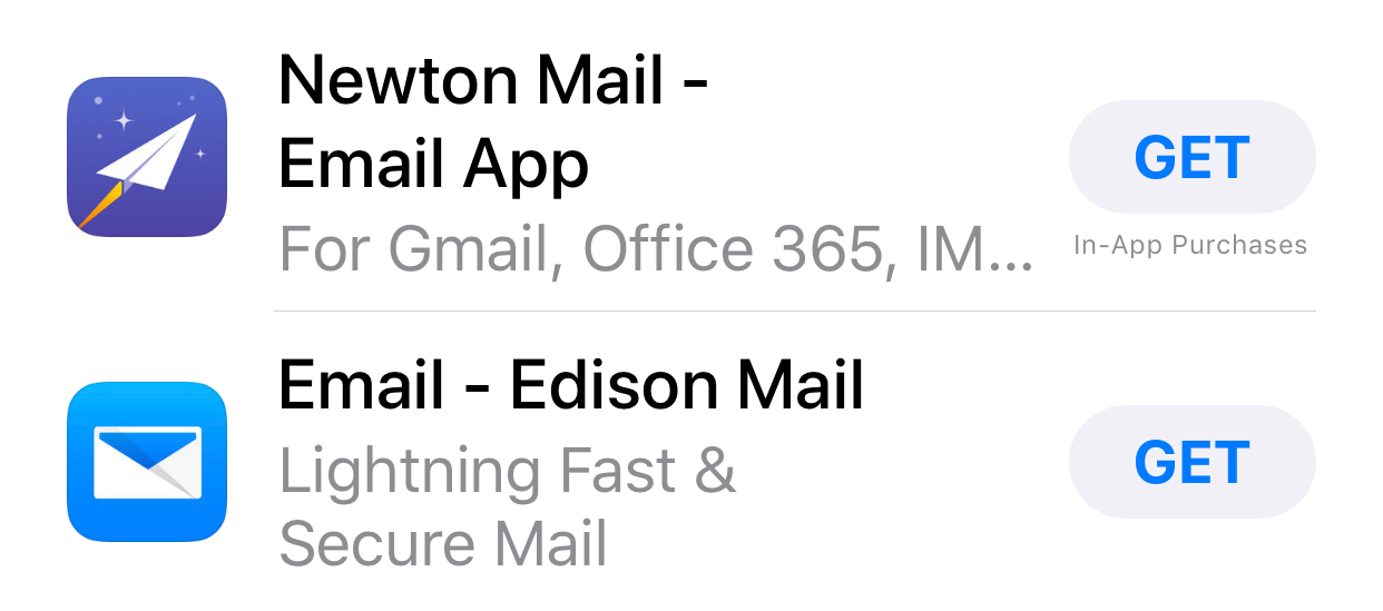 Screenshot from the iOS App Store showing both Edison Mail and Newton Mail.