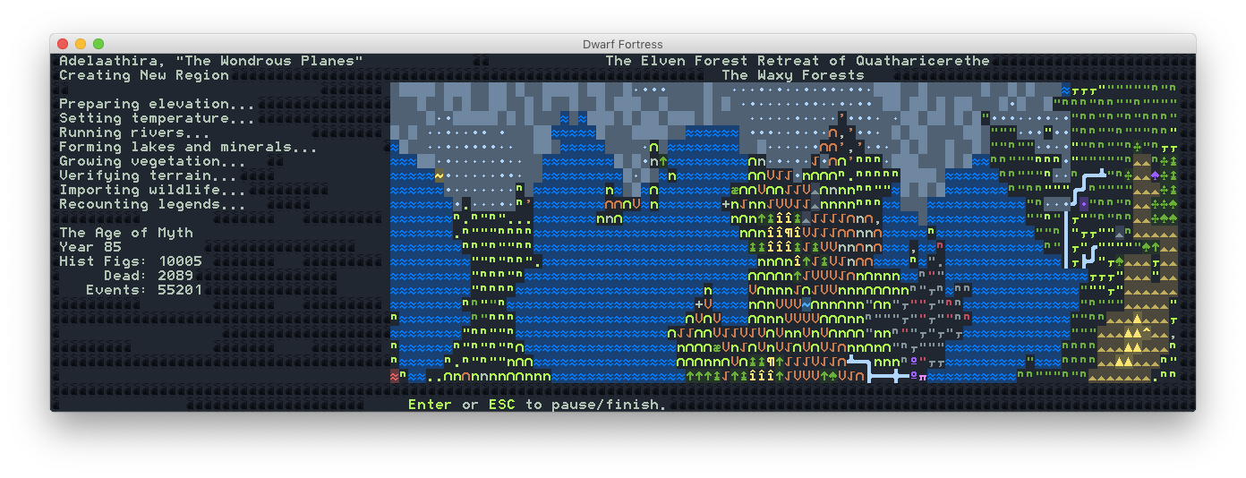 A screenshot from the Dwarf Fortress world creation wizard.