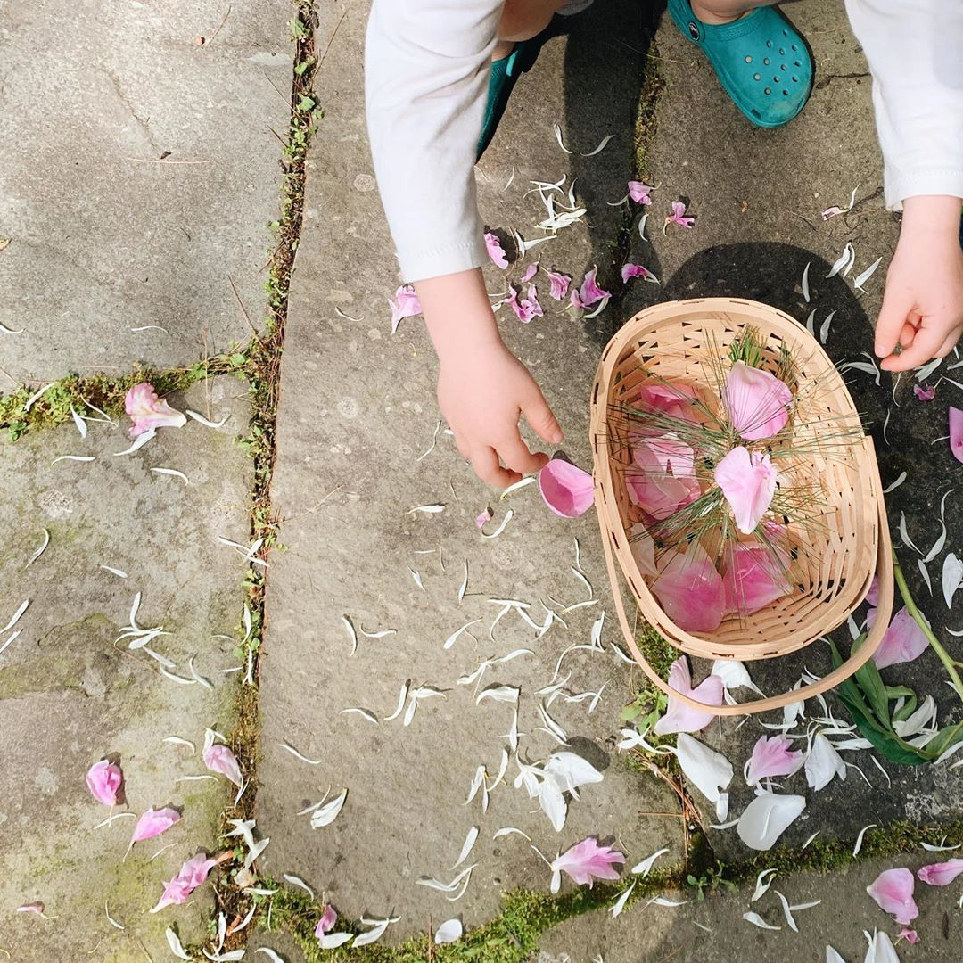 The hands of a child playing with flower petals in a wicker basket.